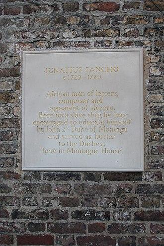 Montagu House, Blackheath - Image: Plaque to Ignatius Sancho, site of Montagu House