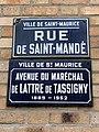 Plaques rue St Mandé avenue Maréchal Lattre Tassigny St Maurice Val Marne 2.jpg