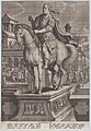 Plate 9- equestrian statue of Vitellius, seen three-quarters to the left, with his death scene in the background at right, his body being thrown into the Tiber at upper right, from 'Roman Emperors on Horseback' MET DP877298.jpg
