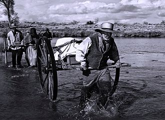 Mormon handcart pioneers - Reenactment: Pioneers crossing the Platte River, from PBS documentary Sweetwater Rescue