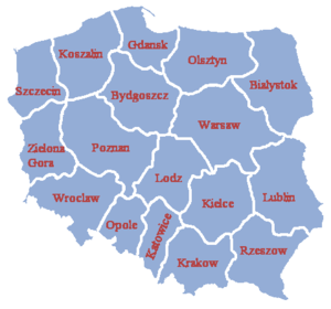 Administrative division of the Polish People's Republic - Poland's voivodeships after 1957.