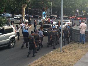 Crime in Armenia - Armenian police in the capital Yerevan.