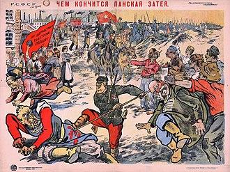 Soviet westward offensive of 1918–19 - Image: Polish soviet propaganda poster 1920