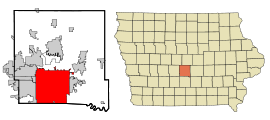 Polk County Iowa Incorporated and Unincorporated areas Des Moines Highlighted.svg