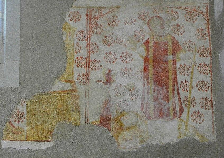 Fresques de l'église Saint-Martin de Pommerieux (53). Saint-Étienne exorcisant des démons.