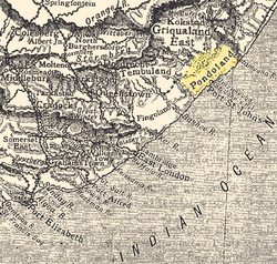 Old map of the Eastern Cape, showing Pondoland (highlighted)