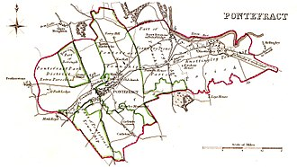 Pontefract (UK Parliament constituency) - A map of the Parliamentary Borough of Pontefract as it existed before the 1832 Reform Act (in green) and after (in red)