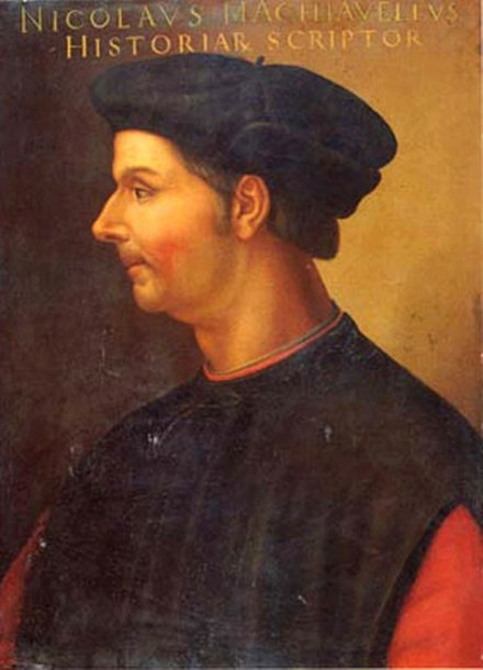 Oil painting of Niccolo Machiavelli by Cristofano dell'Altissimo Portrait of Niccolo Machiavelli Cristofano di Papi dell'Altissimo.jpg