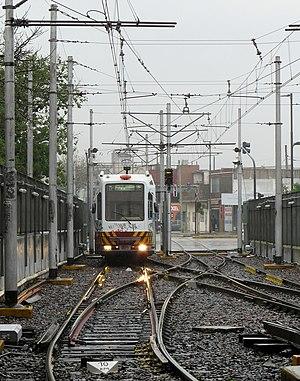 Premetro (Buenos Aires) - Materfer rolling stock leaving Plaza de los Virreyes.