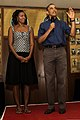 President Barack Obama, right, and first lady Michelle Obama speak to Service members during a Christmas Day visit to Marine Corps Base Hawaii Dec. 25, 2013 131225-M-DP650-004.jpg
