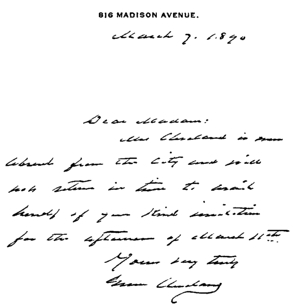 Presidents Grover Cleveland to Mrs J G Wilson.png
