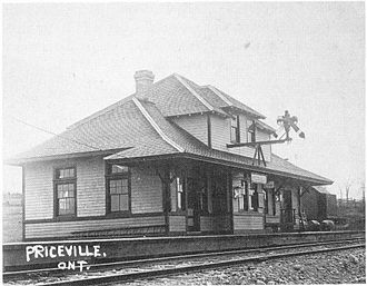 Priceville, Ontario - Railway station in Priceville, 1914