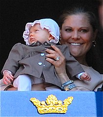 Princess Estelle with her mother, Crown Princess Victoria.