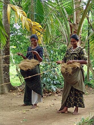 Paravur Taluk - Rural women processing coir threads