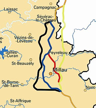 Millau Viaduct - The four proposed routes for the new A75 autoroute around Millau