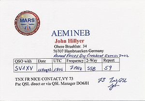 Military Auxiliary Radio System - QSL card from MARS station AEM1NEB