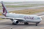 Qatar Airways, QR802, Airbus A330-202, A7-ACB, Arrived from Doha, Kansai Airport (16989975447).jpg