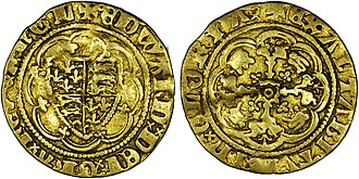 Pale of Calais - Gold quarter noble of Edward III minted in Calais between 1361 and 1369.