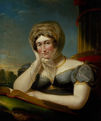 "Caroline of Brunswick - Portrait c. 1820 by James Lonsdale, ""Principal Painter in Ordinary to the Queen"". Her wedding ring is displayed prominently to emphasise fidelity to marriage vows."