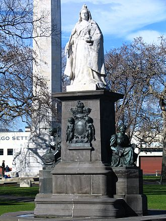 Dunedin - Statue of Queen Victoria, at Queens Gardens. Dunedin was settled by Europeans during the Victorian era.