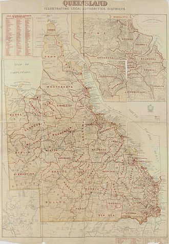 Local government in Queensland - Map of local government divisions in Queensland, 1902