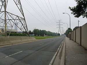 The Queensway - East of Dixie Road, The Queensway runs with a hydro corridor in its median.
