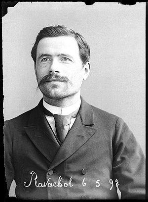 Ravachol - Police mugshot of Ravachol, by Alphonse Bertillon, 1892