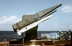 RIM-66 Standard missiles on launcher aboard USS Ticonderoga (CG-47) during tests off Puerto Rico March 1983.jpg