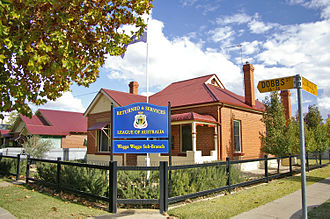 Returned and Services League of Australia - In contrast to the RSL's usually large public licensed club buildings, RSL sub-branches often operate from small suburban premises, such as here at Wagga Wagga, New South Wales.
