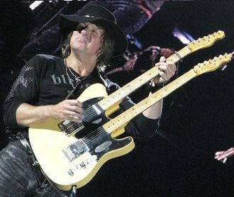 Richie Sambora - Sambora with a twin-neck Fender Telecaster, 2008