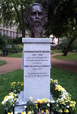 Early life of Rabindranath Tagore - Monument to Tagore in Gordon Square next to UCL where he studied in 1879.