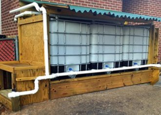 Rainwater tank - Example of caged IBC totes being used for rainwater harvesting