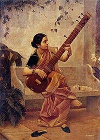 Mujer tocando un sitar , instrumento de cuerdas de India muy versátil ...