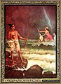 Rama is placated by the fearful sea god, after he demands help in reaching Lanka.jpg