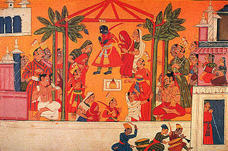 Srisitaramakelikaumudi - The four sons of Daśaratha get married with the four daughters of Sīradhvaja and Kuśadhvaja at the end of Ray Three.
