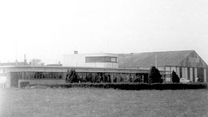 Ramsgate Airport - The clubhouse with the main hangar behind. Summer 1968.
