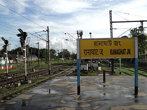 Sealdah–Ranaghat line - The name board at Ranaghat station