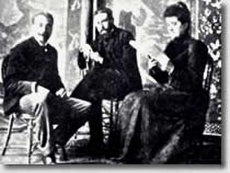 Les Nabis - Paul Ranson, Paul Sérusier, and Marie-France Ranson in Paul Ranson's studio, c. 1900