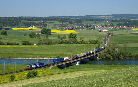 Swiss Federal Railways Re 482 with an intermodal freight train
