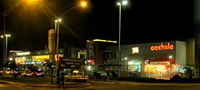 Outsides of Shopping center Real Plaza at night
