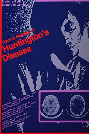 Marjorie Guthrie - Poster of Recent studies of Huntington's disease Marjorie Guthrie lecture in genetics; 1985