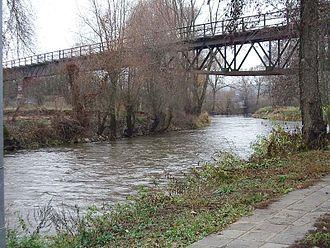 Rednitz - canoe course and old railway bridge in Fürth-Weikershof