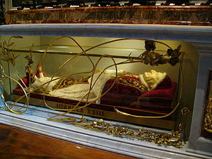 Papal Slippers - Glass sarcophagus of Pope John XXIII in St. Peter's Basilica.