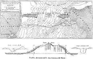Corinth Canal - Remains of Nero's canal project in 1881