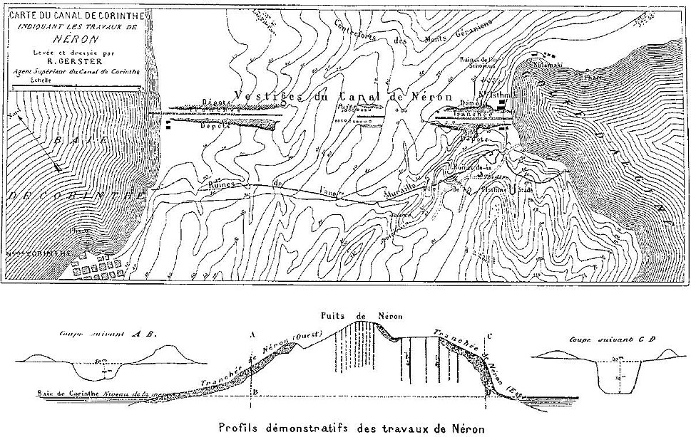 Remains of Nero's Isthmus Canal in 1881