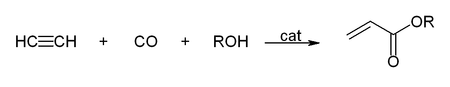 Hydrocarboxylation of acetylene with an alcohol