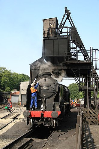 Coaling tower - A steel coal tower at Grosmont Motive Power Depot, United Kingdom