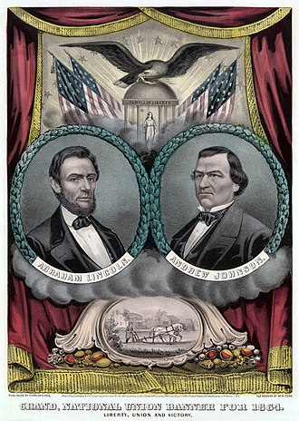 1864 National Union National Convention - Lincoln and Johnson campaign poster