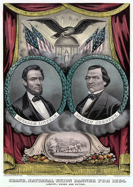 Poster for the Lincoln and Johnson ticket by Currier and Ives Republican presidential ticket 1864b.jpg