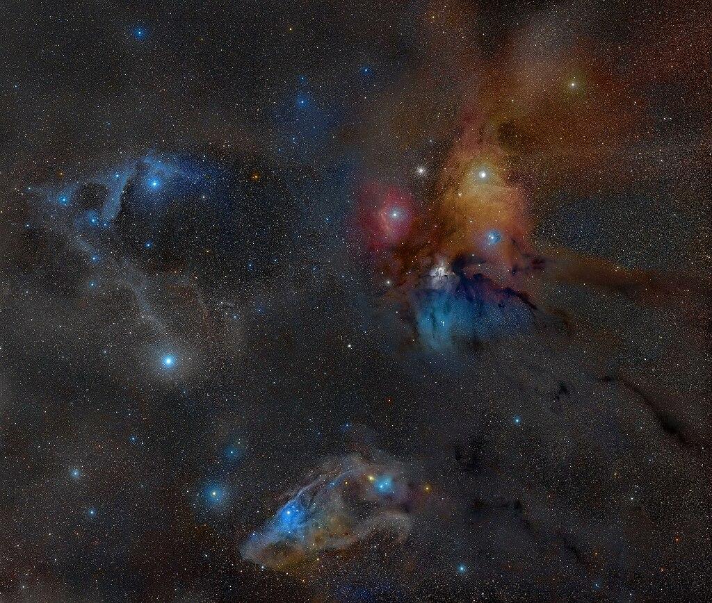 Le système binaire de Rho Ophiuchi à 400 années-lumière de la Terre.  (définition réelle 3600×3052)